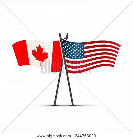 Usa And Canada Flags On Poles Isolated On White