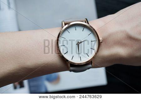Wrist Watch On Female Wrist. Close Up