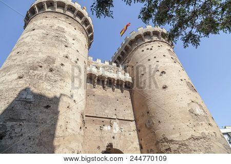 Valencia,spain-may 9,2018: Ancient Medieval Architecure, Monument, Tower,torres De Quart, City Cente