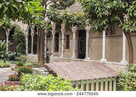 Barcelona,spain-july 21,2011: Cloister Of Church Of Concepcio In Eixample Quarter.
