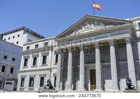 Madrid,spain-july 25,2015: Palace, Palacio De Las Cortes, Spanish Congress Deputies, Exterior Street
