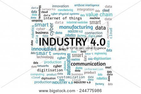Industry 4.0 Concept As Word Collage Or Word Cloud, Rectangle, Words In Blue, Gray, Black