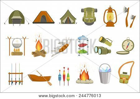Camping Related Objects Set Of Simple Design Illustrations In Cute Fun Cartoon Style Isolated On Whi