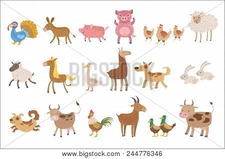 Farm Animals Set Of Stylized Cute Childish Flat Vector Drawings Isolated On White Background