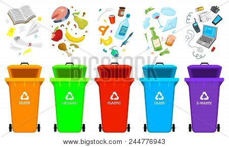 Recycling Garbage Elements. Bag Or Containers Or Cans For Different Trashes. Sorting And Utilize Foo