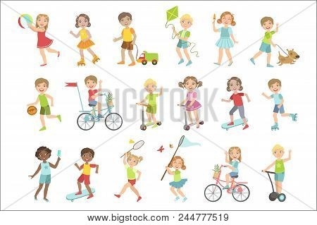 Kids Playing Outside Set Of Simple Design Illustrations In Cute Fun Cartoon Style Isolated On White