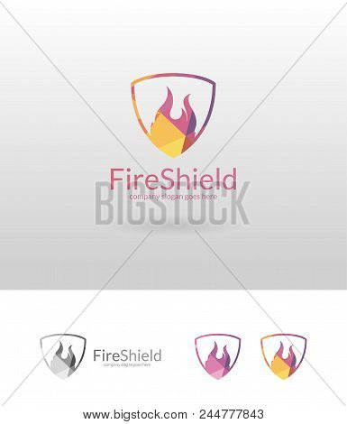 Fire Shield Logo Template. Isolated Fire Shield Illustration