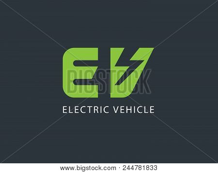 Electric Vehicle Logo Design Template, Electric Vehicle Logotype With Negative Space,  Vector Illust
