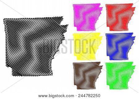 Arkansas Map Vector Illustration, Scribble Sketch Arkansas Map Black, Red, Blue, Green, Yellow, Purp