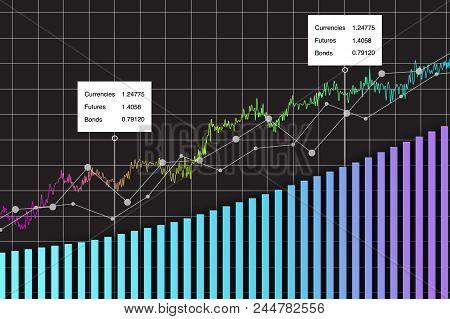 Financial Data Graph Chart, Vector Illustration. Uptrend Lines, Columns, Market Economy Information