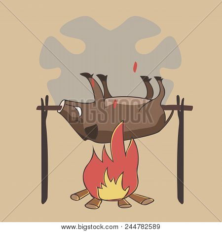 Boar On A Spit, Funny Vector Cartoon Illustration  Of Traditional Food Preparation