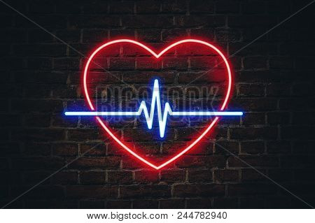 Glowing Neon Sign In The Shape Of A Heart And Heart Lines On Background Ceramic Wall. The Concept Of