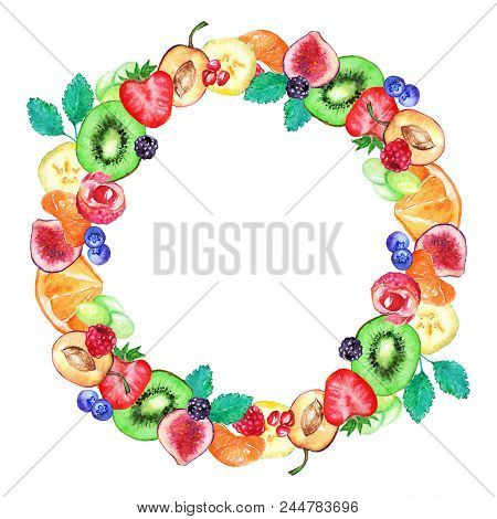 Watercolor Fruit Berry Sweet Summer Frame Border Isolated