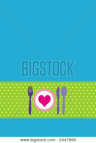 Card With Cutlery And Dinnerplate