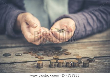 Money, Coins, The Grandmother On Pensions And A Concept Of A Living Minimum Old Woman Sadly Counts N