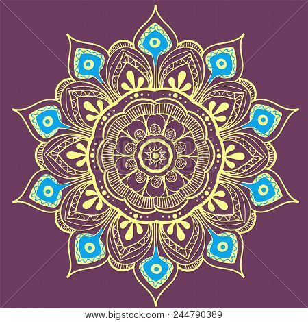 Mandala Vector Design Element. Round Ornament Decoration. Colorful Flower Pattern. Stylized Floral M