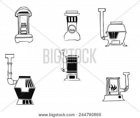 Cooker oven stove pan burner icons set. Simple illustration of 6 cooker oven stove pan burner vector icons for web poster