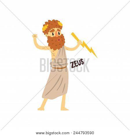 Zeus Supreme Olympian Greek God, Ancient Greece Mythology Character Character Vector Illustration Is