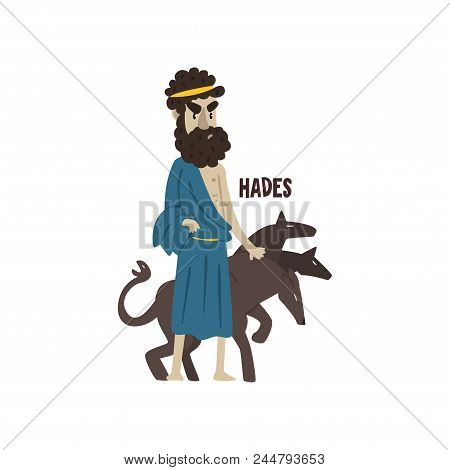 Hades Olympian Greek God, Ancient Greece Mythology Character Vector Illustration Isolated On A White
