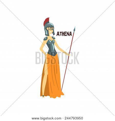 Athena Olympian Greek Goddess, Ancient Greece Mythology Character Vector Illustration Isolated On A