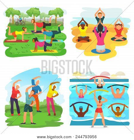 Workout Exercise Vector Active People Exercising With Trainer In Sportive Group In Park Illustration