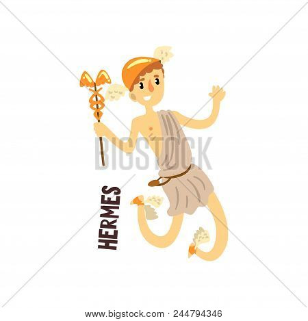 Hermes Olympian Greek God, Ancient Greece Mythology Character Vector Illustration Isolated On A Whit