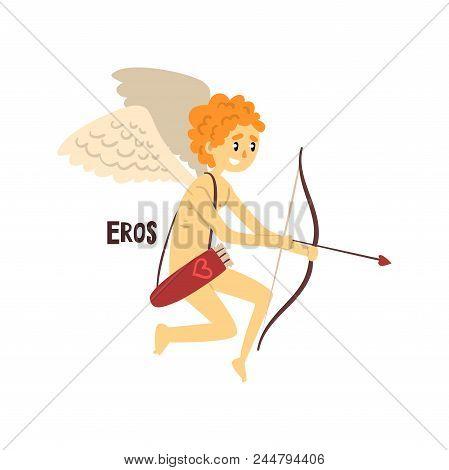 Eros Olympian Greek God, Ancient Greece Mythology Character Vector Illustration Isolated On A White