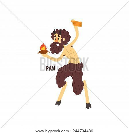 Pan Olympian Greek God, Ancient Greece Mythology Character Vector Illustration Isolated On A White B