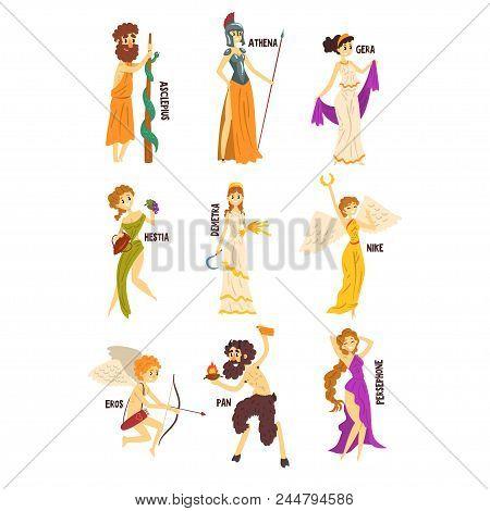 Olympian Greek Gods Set, Persephone, Nike, Demetra, Hestia, Gera, Athena, Asclepius Ancient Greece M