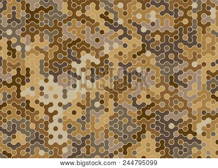 Camouflage Brown Cell Pattern. Flat Illustration Of Camouflage Brown Cell Pattern Vector Texture For
