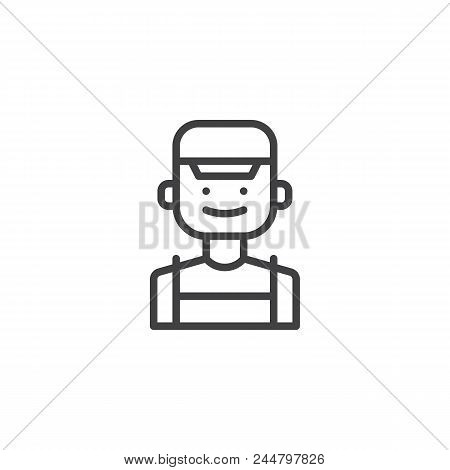 Clerk Outline Icon. Linear Style Sign For Mobile Concept And Web Design. Male Person In Cap Simple L