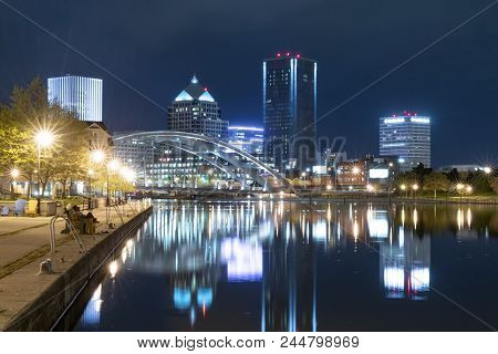 Rochester, Ny - May 14, 2018: Skyline Of Rochester, New York Along  Genesee River At Night