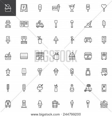 Ice Cream Shop Outline Icons Set. Linear Style Symbols Collection, Line Signs Pack. Vector Graphics.