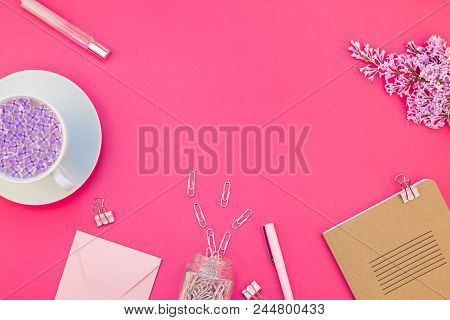 Creative Top View Flat Lay Of Workspace Desk Styled Design Office Supplies And Cup Of Tea With Copy