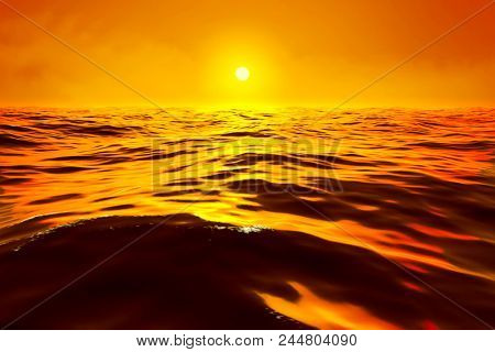 a golden sunset over the ocean 3d illustration