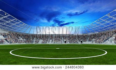 Center line in a football stadium with spectators ready for kick off (3D Rendering)