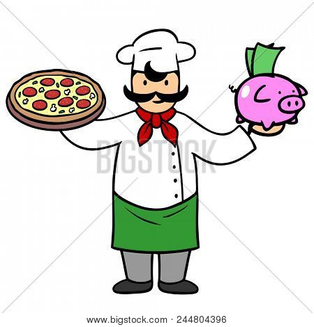 Cartoon pizza maker with pizza and piggy bank at the pizza service