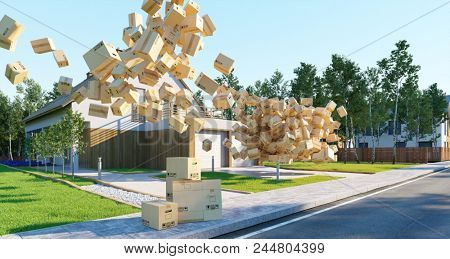 Concept for liability insurance for damage when moving with many falling moving boxes in front of a house (3D Rendering)