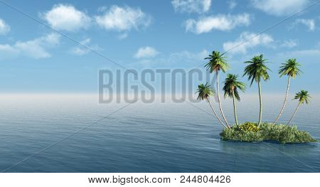 Group of palms on a small island- 3D rendering