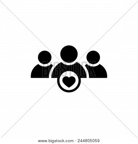 User Group Icon With Heart Shape In Flat Style. Management Business Team Leader Sign. Teamwork With