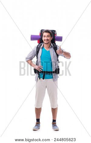 Backpacker with large backpack isolated on white