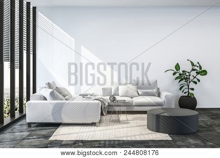 Modern living room interior with white wall. 3d Rendering.