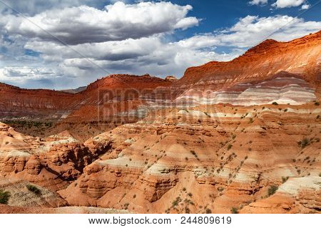 Gorgeous View Of The Many Colored Layers Of Sandstone In Grand Staircase-escalante National Monument