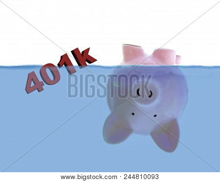 Piggy Bank Floating Upside Down With 401k Text Illustration
