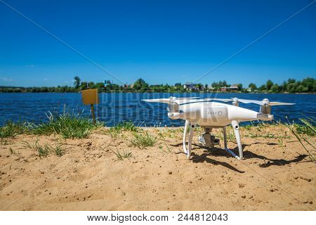 drone quad copter on over the beach poster