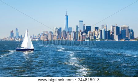 An image of New York City Manhattan skyline from the sea