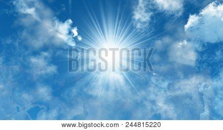 the sun on a blue sky - 3D rendering