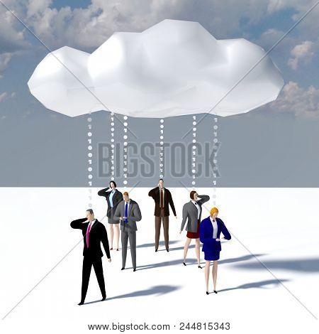 Business people communicate data cloud smartphone computer technology