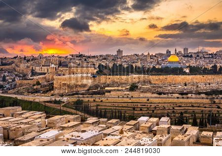 Jerusalem, Israel old city skyline at dusk from Mount of Olives.