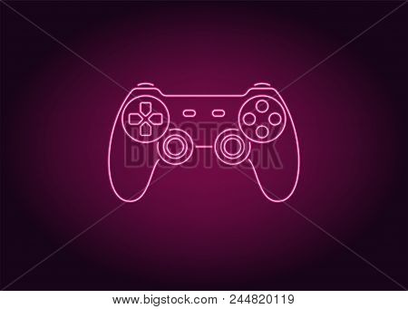 Neon Icon Of Pink Joystick. Vector Illustration Of Pink Wireless Gamepad Consisting Of Neon Outlines